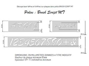 format des plaques police Brush Script MT